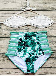 Crochet Floral Print Hollow Out Halter Bikini Set