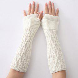 Christmas Winter Criss-Cross Crochet Knit Arm Warmers - WHITE