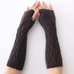Christmas Winter Criss-Cross Crochet Knit Manchettes - Gris Foncé