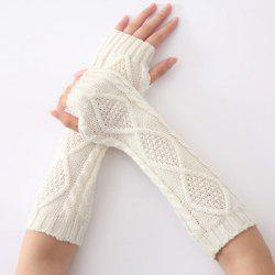 Christmas Winter Rhombus Crochet Knit Arm Warmers - WHITE