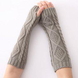 Christmas Winter Rhombus Crochet Knit Arm Warmers - LIGHT GRAY