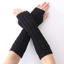 Christmas Winter Hemp Flowers Crochet Knit Arm Warmers - BLACK