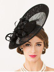 Sororal Party Flower 1940s Linen Fascinator Hat - BLACK