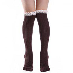 Knit Ribbed Stockings with Lace Trim - DARK COFFEE