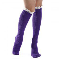 Knit Ribbed Stockings with Lace Trim - DEEP PURPLE
