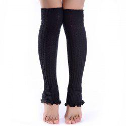 Christmas Winter Small Hemp Flowers Knit Leg Warmers - BLACK