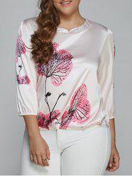 Floral Print Ruched Plus Size Blouse