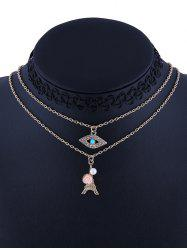 3 Pcs Rhinestone Tower Eye Tattoo Necklaces -