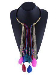 Layered Feather Tassel Rope Necklace