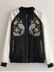 Peacock Embroidered Bomber Jacket -