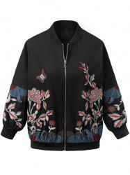 Vintage Butterfly Flower Embroidered Jacket - BLACK L