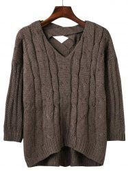 Loose Criss Cross Cable Knitted Sweater -