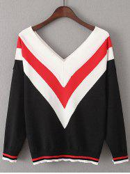 Color Block V  Shape Stripe Sweater -
