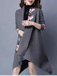 Flower Embroidered Asymmetric Cardigan