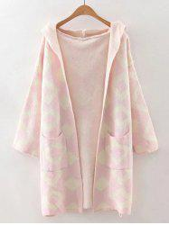 Rhombus Hooded Cardigan with Pocket -