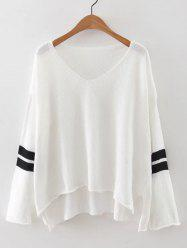 V Neck High Low Knitted Sweater -