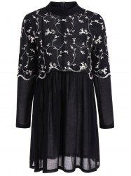 Autumn Leaf Embroidery Long Sleeve Dress - BLACK XL