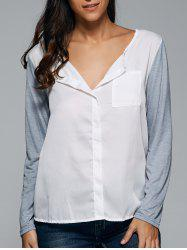 Loose-Fitting Contrast Color Blouse -