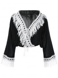 Fringed Loose-Fitting Wrap Blouse -