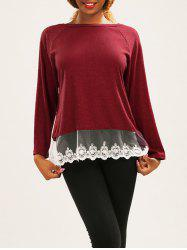 Lace Spliced Thick T-Shirt -