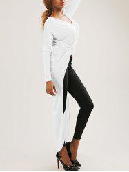 High-Low Wrap Ruched T-Shirt -