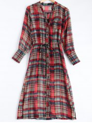 Tank Top + Button-Down Plaid Belted Dress Twinset -