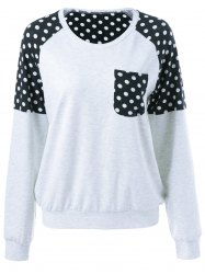 Polka Dot Garniture Simple Sweatshirt Pocket - Gris Clair