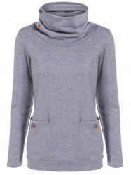Button and Pocket Design Heap Collar Sweatshirt