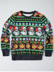 Father Christmas Print Loose Fit Sweatshirt
