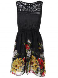 Lace Splicing Floral Print Chiffon Dress