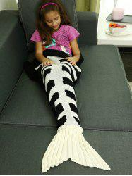 Kids Knitted Fishbone Sofa Wrap Mermaid Tail Blanket -