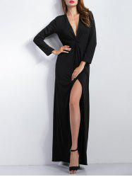Draped Long Sleeve Slit Maxi Prom Dress