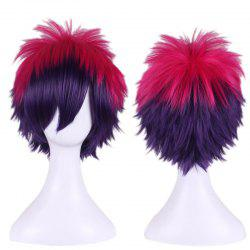 Rose Red Gradient Purple Short Anti Alice Hair Side Bang Cosplay Synthetic Wig - COLORMIX