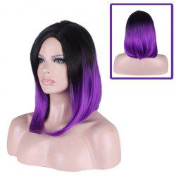 Medium Side Parting Straight Tail Adduction Gradient Color Cosplay Synthetic Wig - BLACK AND PURPLE