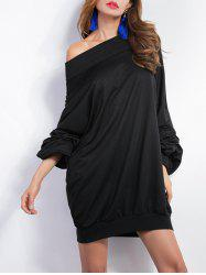 Off-The-Shoulder Ruched Pullover Sweatshirt
