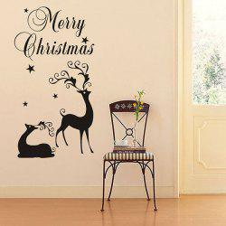 Merry Christmas Deers Removeable Window Glass Wall Sticker