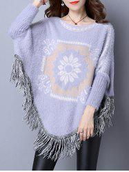 Flower Jacquard Fringed Cape Sweater
