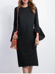 High Slit Bell Sleeves Sheath Dress - BLACK