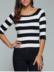 Color Block Scalloped 3/4 Sleeve Knitwear -