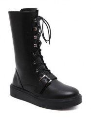 Lace-Up Buckle Platform Mid-Calf Boots