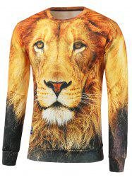 Lion Print Crew Neck Sweatshirt - YELLOW