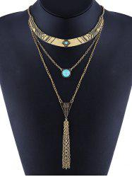 Faux Turquoise Layered Geometric Bohemian Necklace -