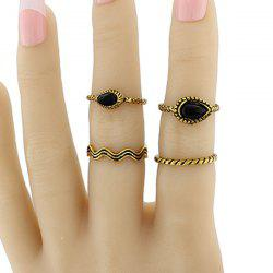 Faux Gem Water Drop Jewelry Ring Set