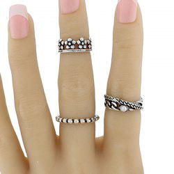 Faux Pearl Flower Circle Jewelry Ring Set - SILVER