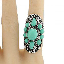 Faux Gem Water Drop Floral Ring