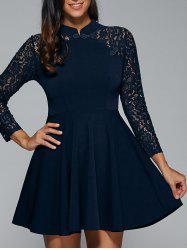 Lace Appliques Fit and Flare Dress -
