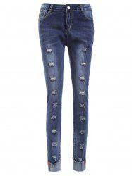 Skinny Ripped Cuffed Jeans -
