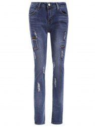 Skinny Letter Pattern Ripped Jeans -