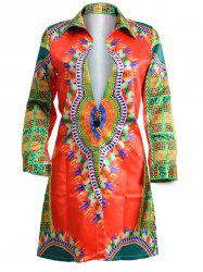 Tribal Totem Print Shirt Coat