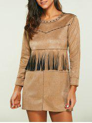 Rivet Faux Suede Long Sleeve Dress with Fringe - LIGHT KHAKI
